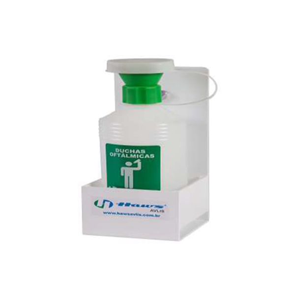 Ducha oftálmica com suporte de ventosa para fixação - 500 ml