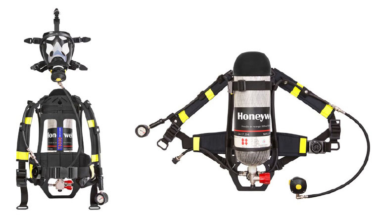 Equipamento autônomo com respirador facial e cilíndro