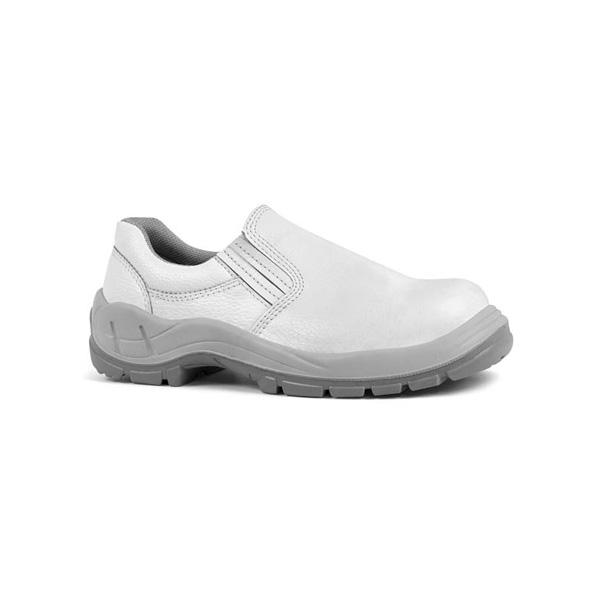 Sapato couro elástico branco com bico 90HLS200B   PROT-CAP f2158a80a3